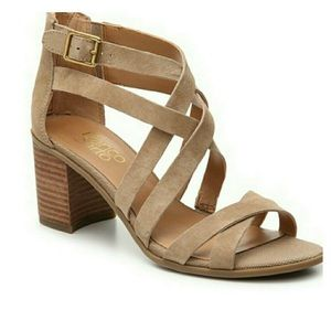 Franco Sarto 'Hachi' Tan Suede Strappy Sandals